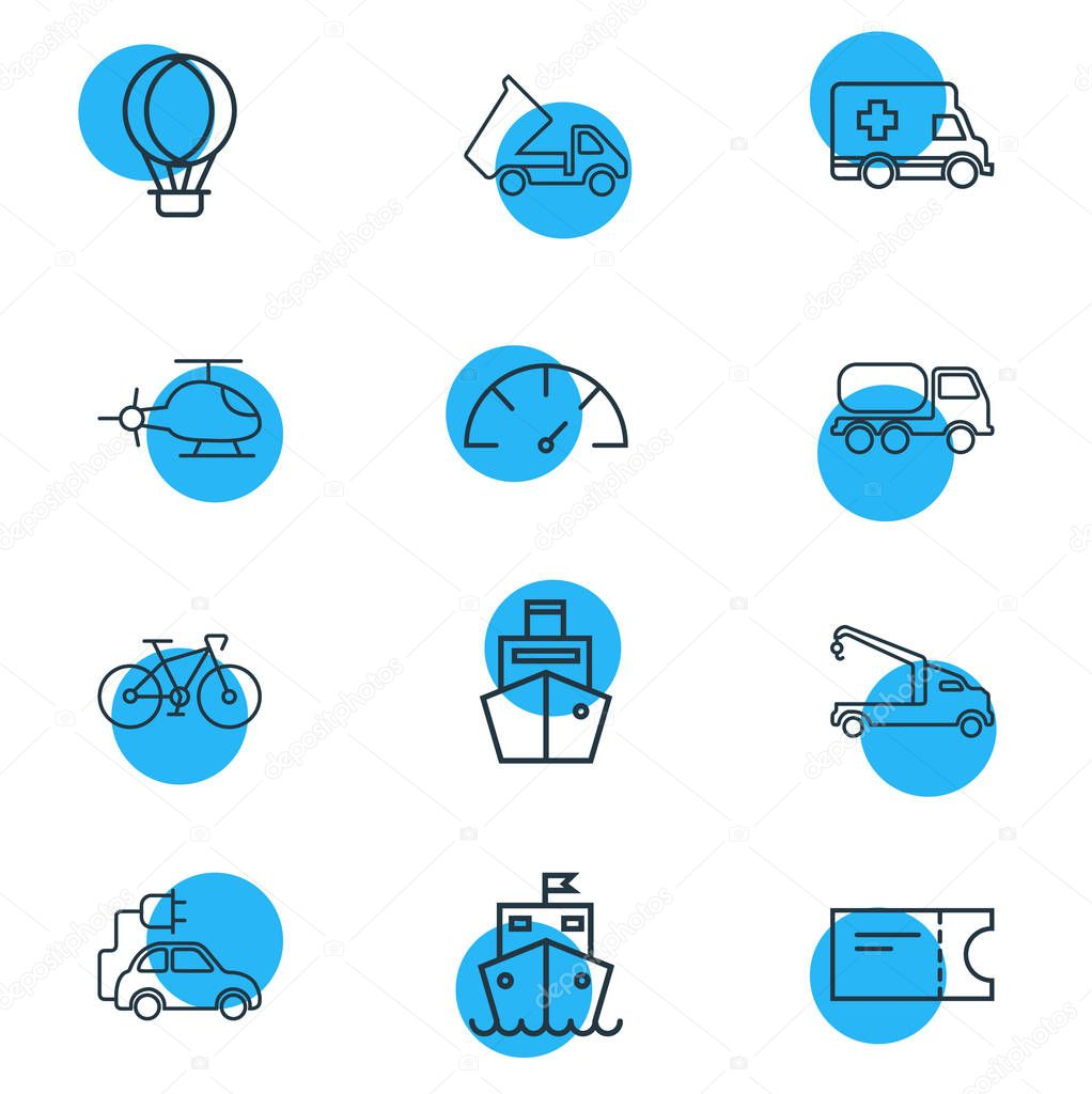 illustration of 12 carrying icons line style. Editable set of tank truck, crane truck, cargo ship and other icon elements.