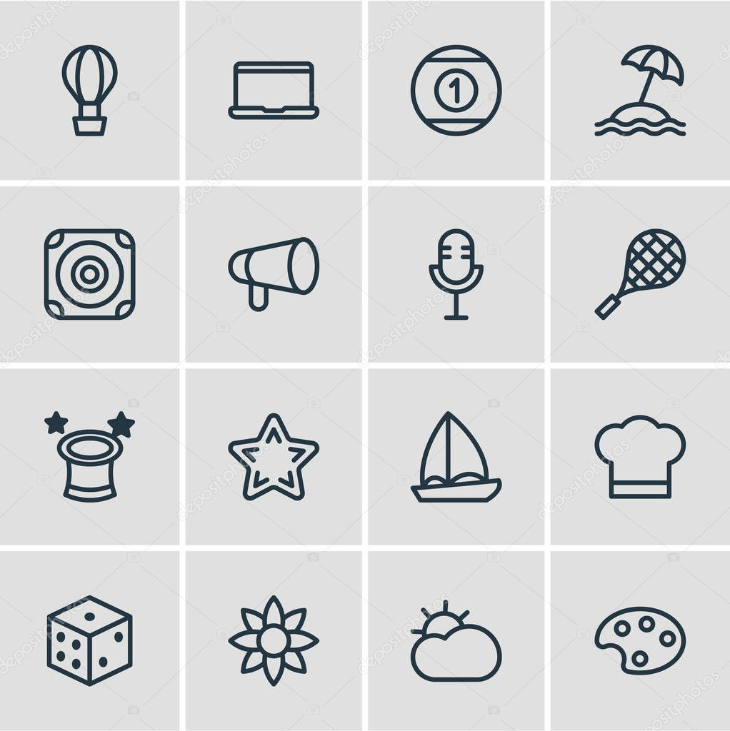 Vector illustration of 16 leisure icons line style. Editable set of sun, bullhorn, tennis and other icon elements.