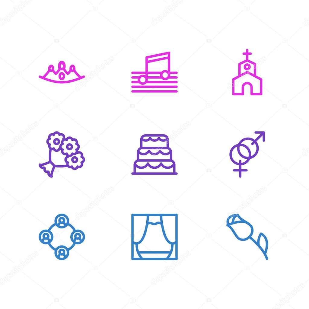 Vector illustration of 9 holiday icons line style. Editable set of flower, music, scene and other icon elements.