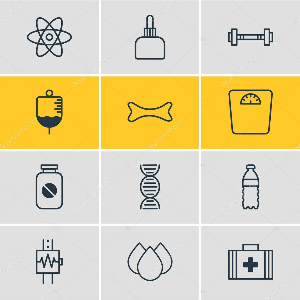 illustration of 12 health icons line style. Editable set of scales, first aid box, bottled water and other icon elements.