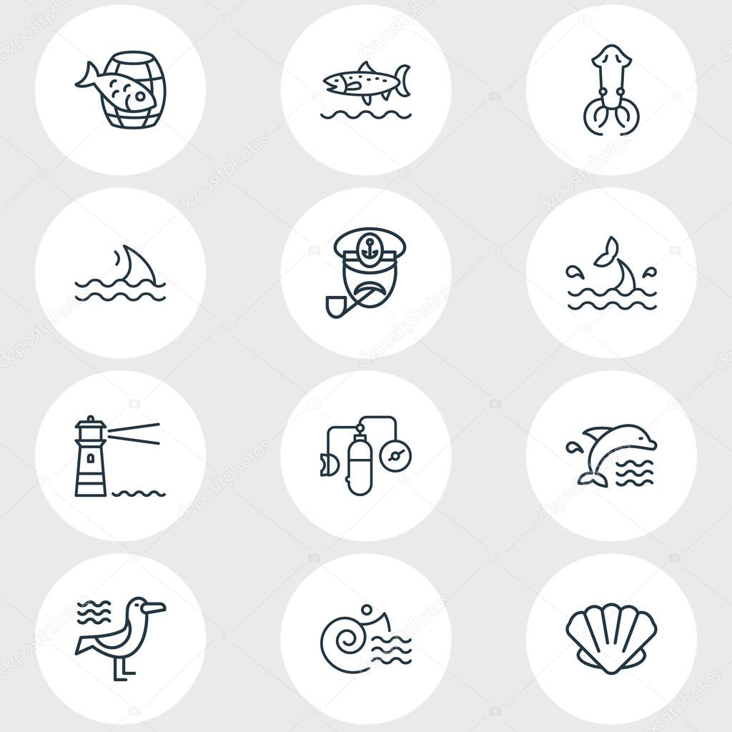 Vector illustration of 12 naval icons line style. Editable set of whale tail, oxygen balloons, squid and other icon elements.
