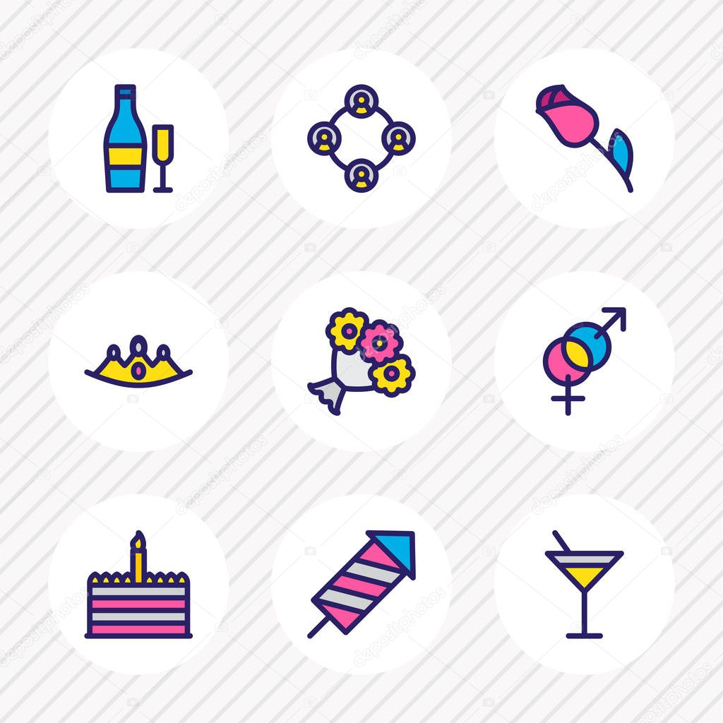 Vector illustration of 9 holiday icons colored line. Editable set of flowers, crown, beverage and other icon elements.