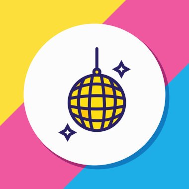 illustration of disco ball icon colored line. Beautiful celebration element also can be used as nightclub icon element.
