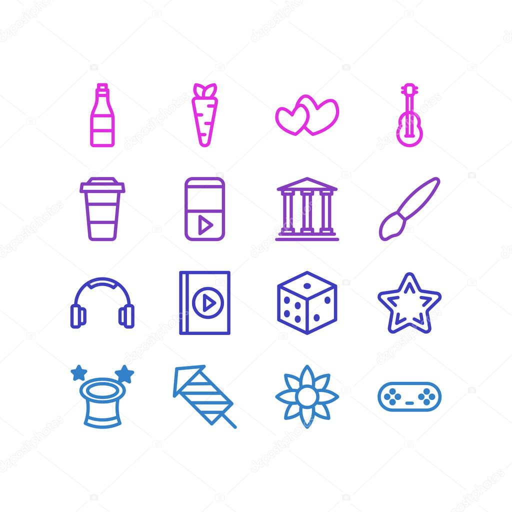 illustration of 16 leisure icons line style. Editable set of dice, firework, flower and other icon elements.