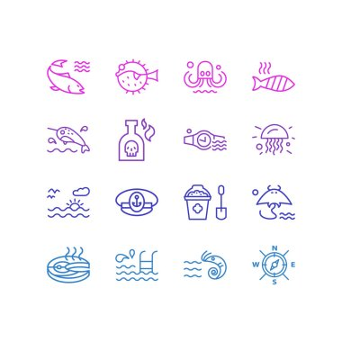 illustration of 16 sea icons line style. Editable set of puffer fish, grilled fish, captains cap and other icon elements.