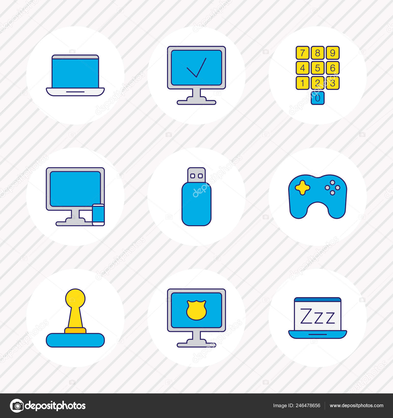 Vector illustration of 9 notebook icons colored line