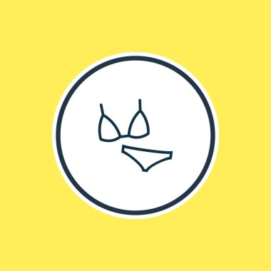 Vector illustration of bikini icon line. Beautiful travel element also can be used as swimsuit icon element.