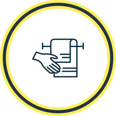 Vector illustration of drying hands with towel icon line. Beautiful toilet element also can be used as equipment icon element. icon