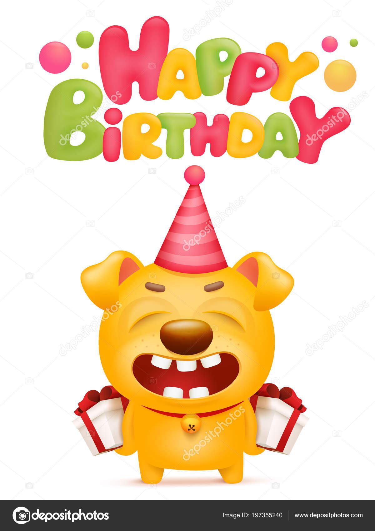 Happy Birthday Card Template Yellow Emoji Dog Cartoon Character Vector Stock