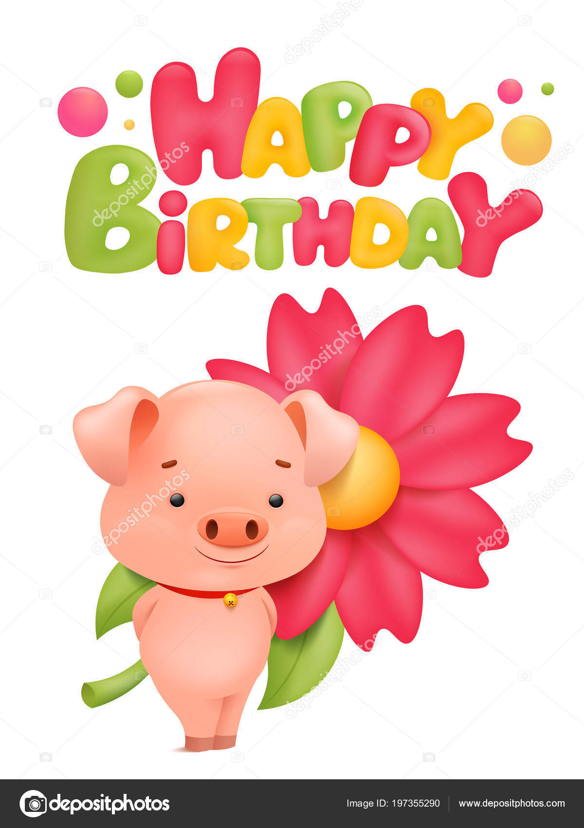Happy Birthday Card Template Pig Cartoon Character Vector Illustration Stock