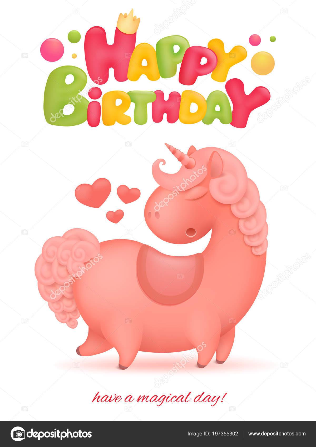Happy Birthday Card Template Unicorn Cartoon Character Vector Illustration Stock