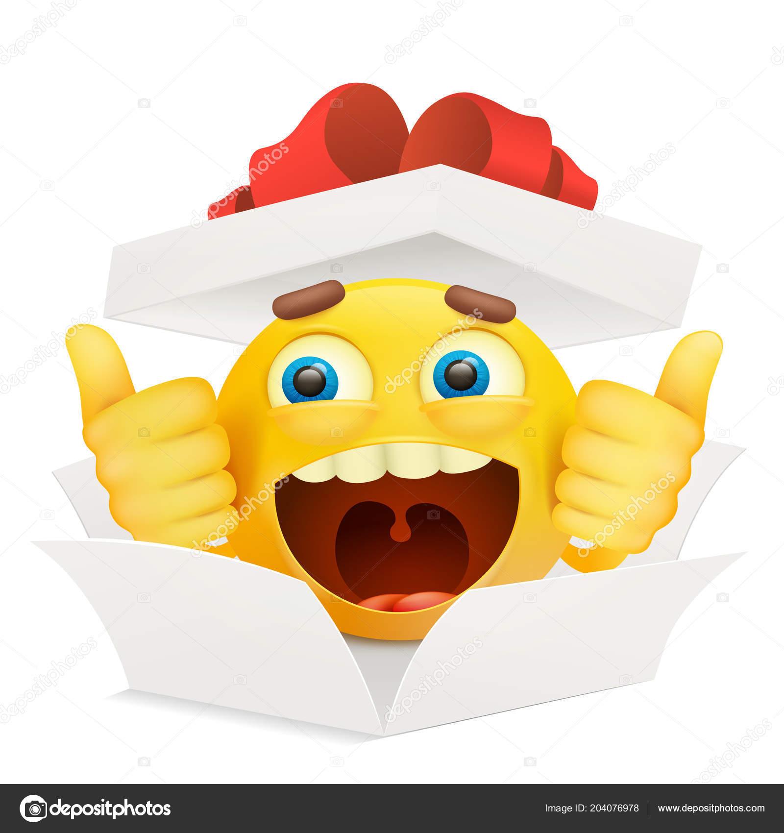 Livre Blanc Ouvert Boite Avec Personnage Smiley Emoticon