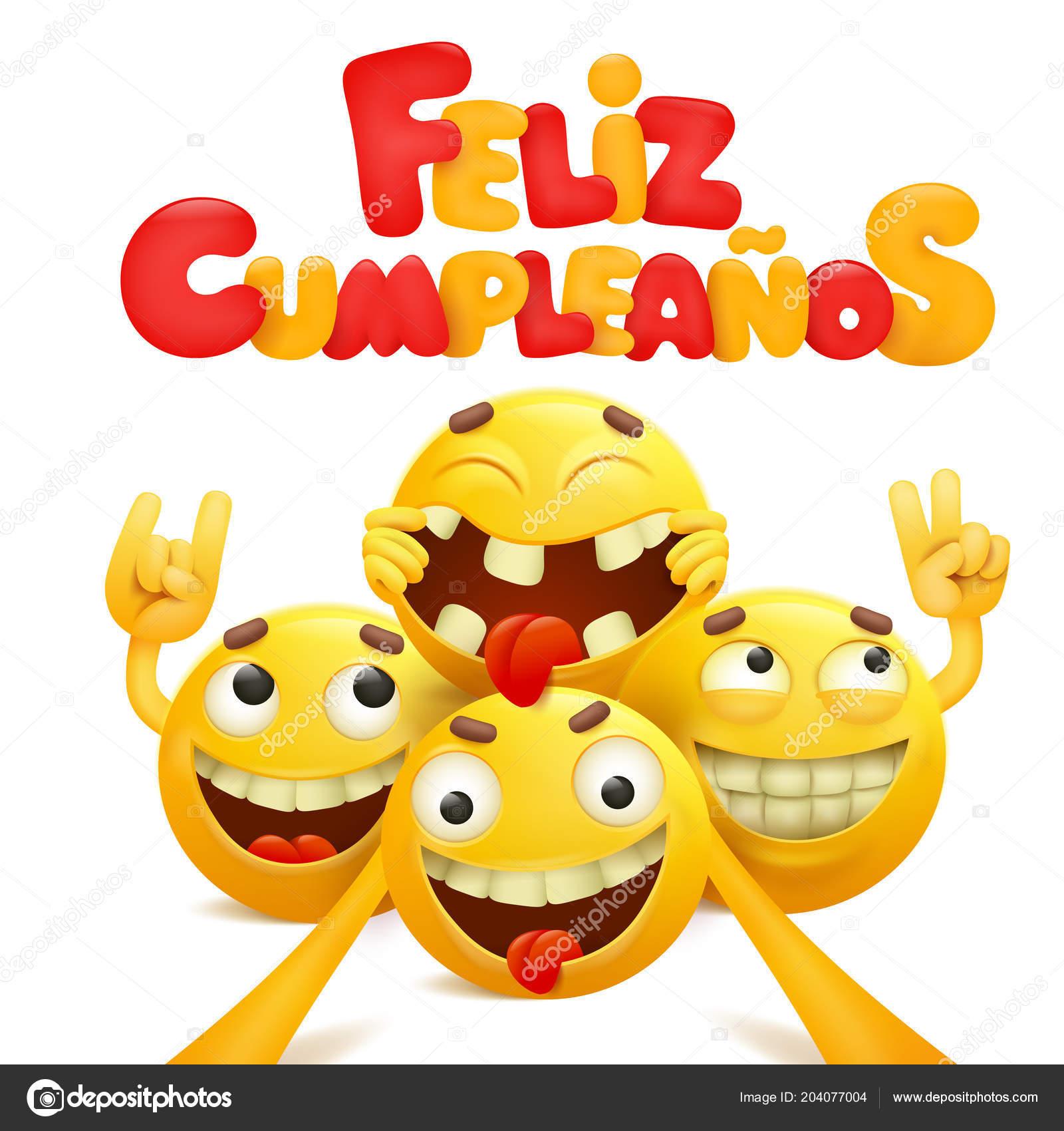 Feliz Cumpleanos Happy Birthday Spanish Greeting Card Group Yellow