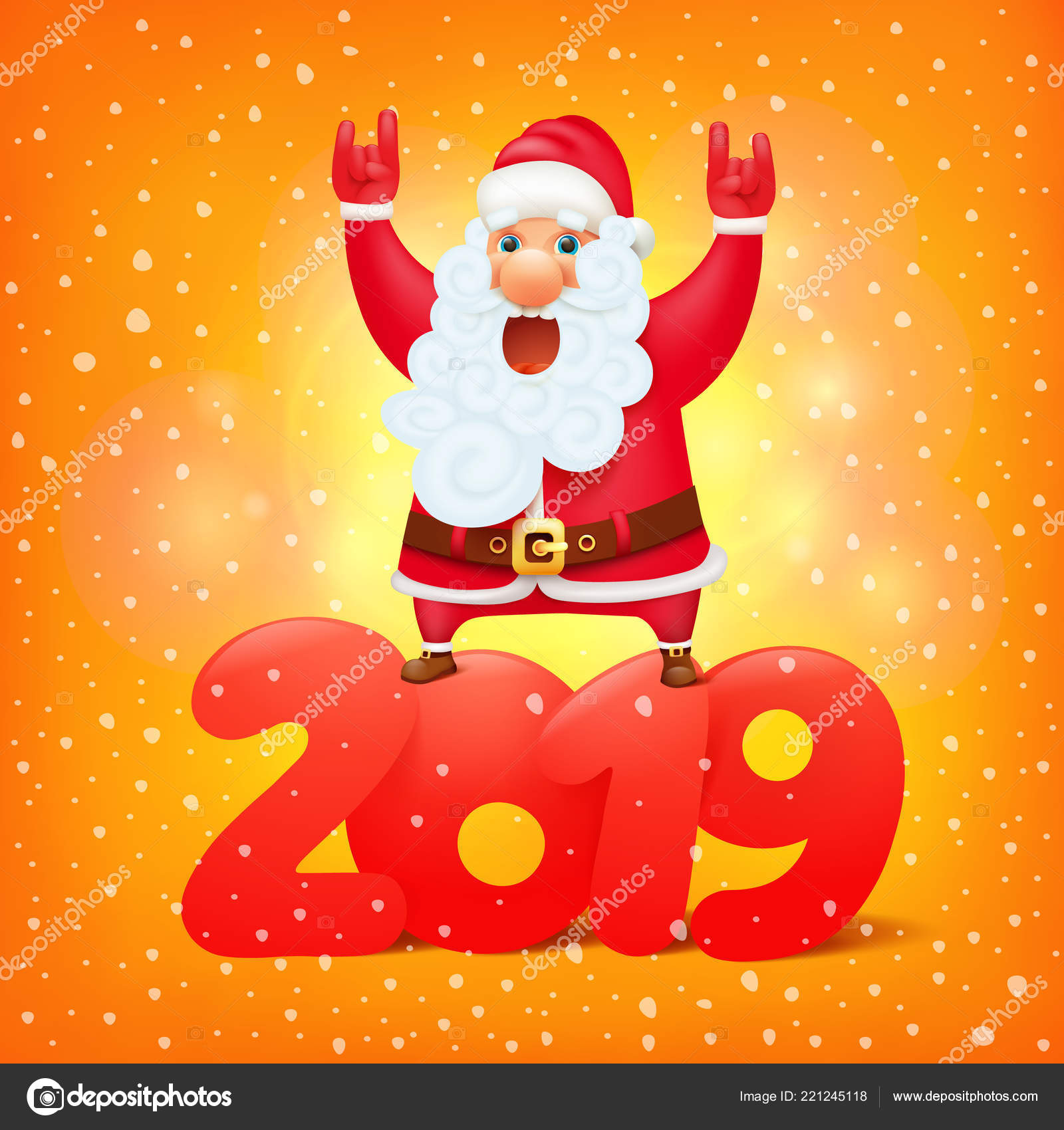 santa claus symbol 2019 cartoon character greeting card template