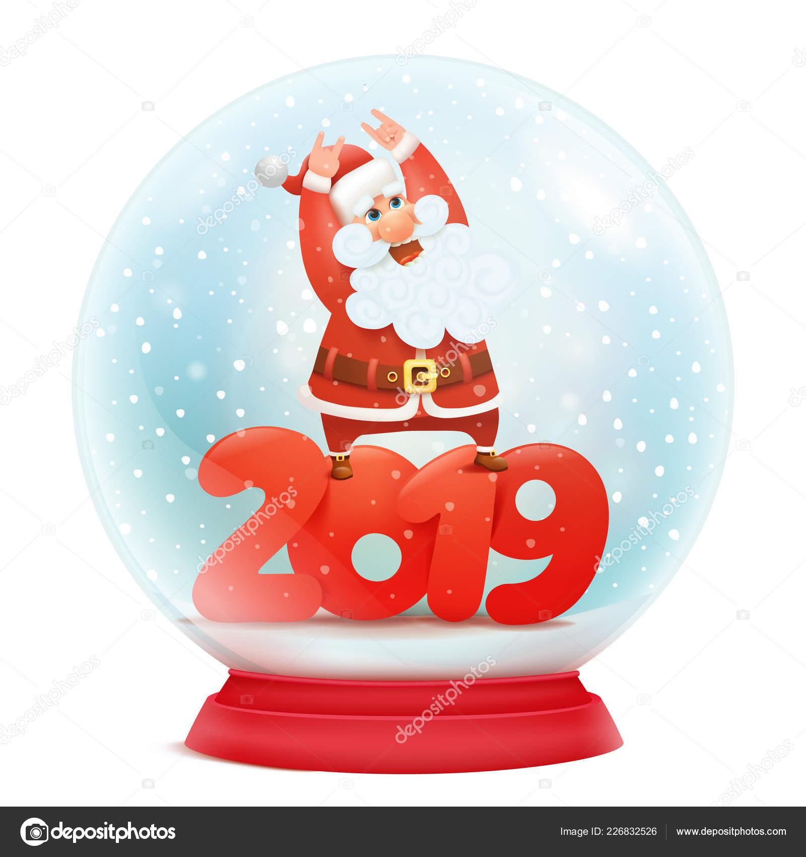snow globe santa claus new year 2019 invitation card template