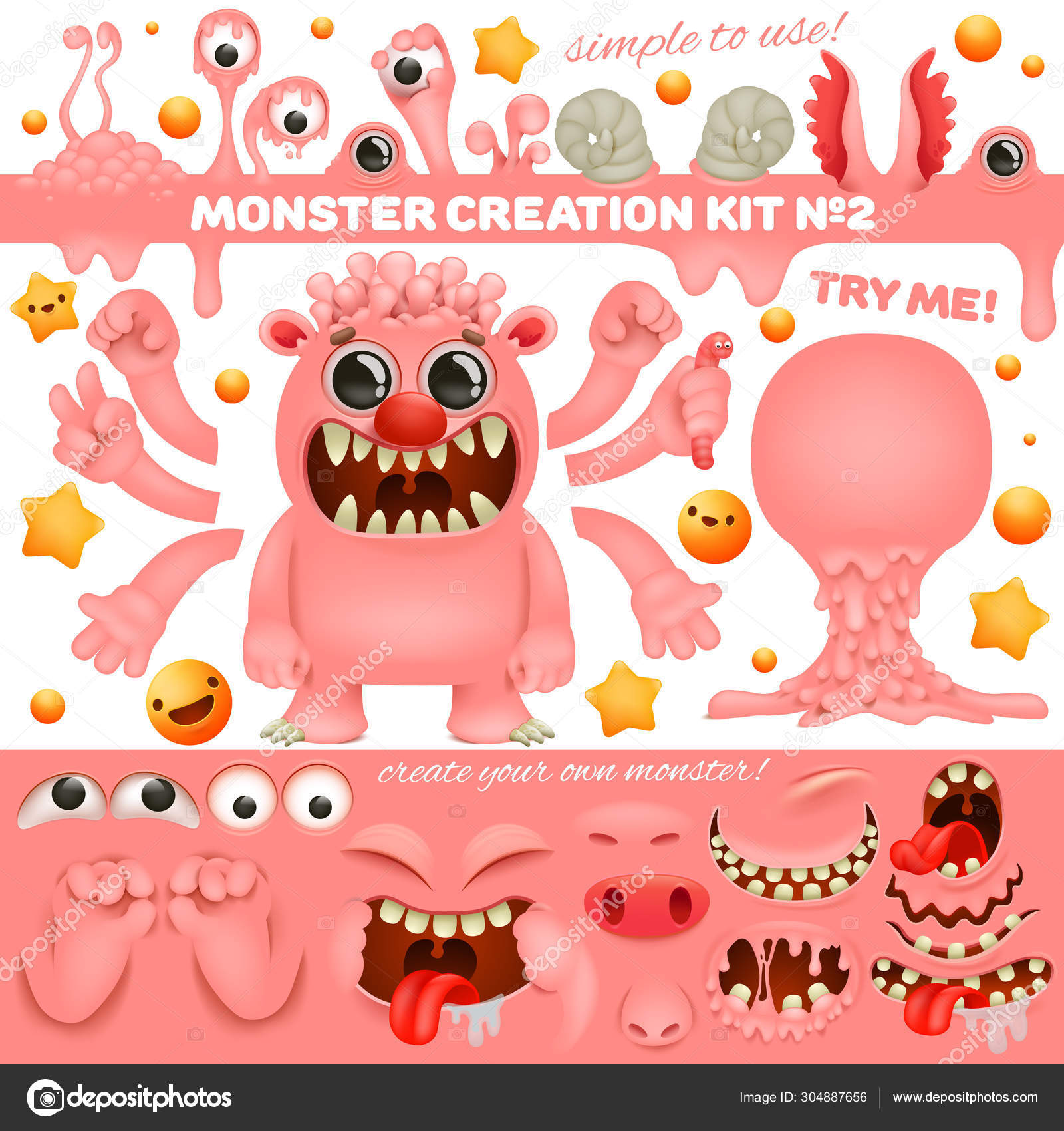 Pink Monster Emoji Cartoon Creation Kit Diy Collection Create Your Own Character Stock Vector C Nektoetkin 304887656