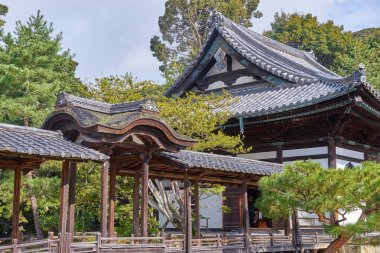 Kyoto, Japan - November 9, 2016: Beautiful historic hall at front gate of Kodaiji temple. A Serene setting with a buddhist temple with seasonal light festivals in Kyoto, Japan.