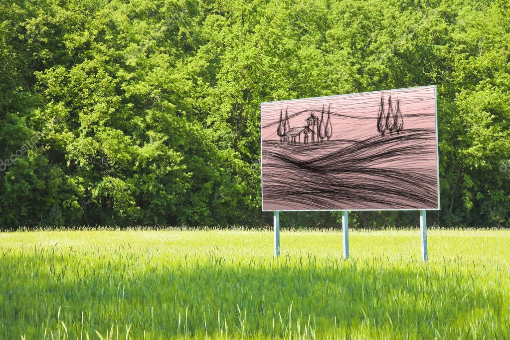 A advertising billboard shows the Tuscany countrysid