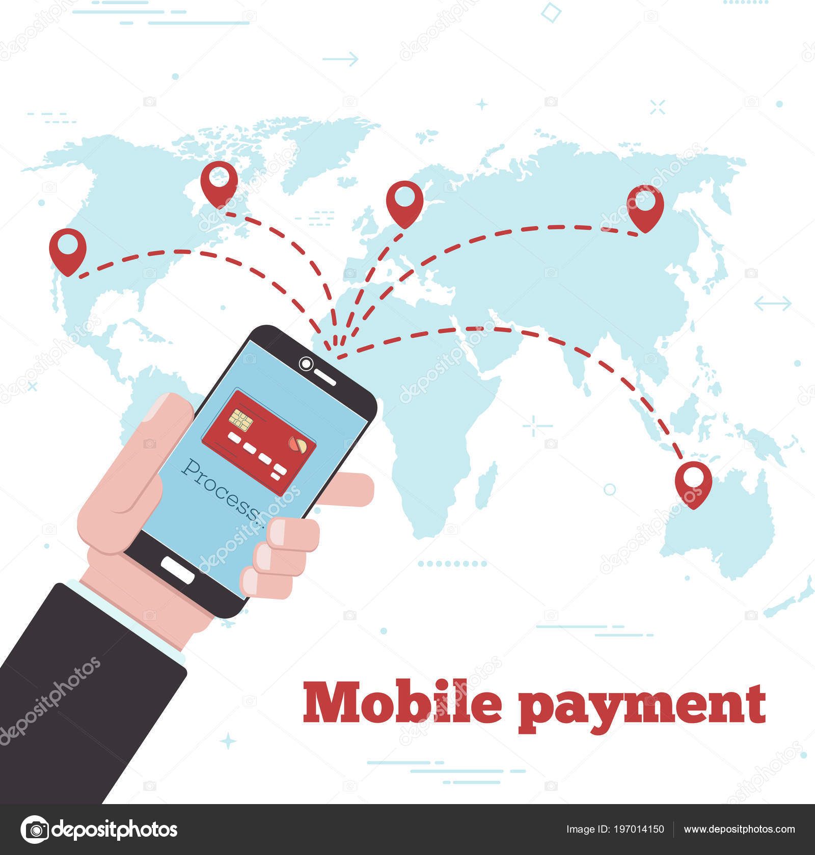 World Mobile Payment Concept Line Art Style Banking Finance