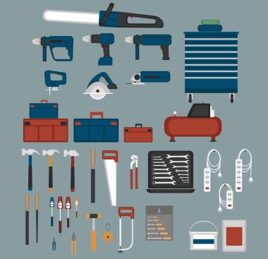 Tools shopicons set in flat style. Power instruments collection vector illustration. Repairs workshop hand equipment.
