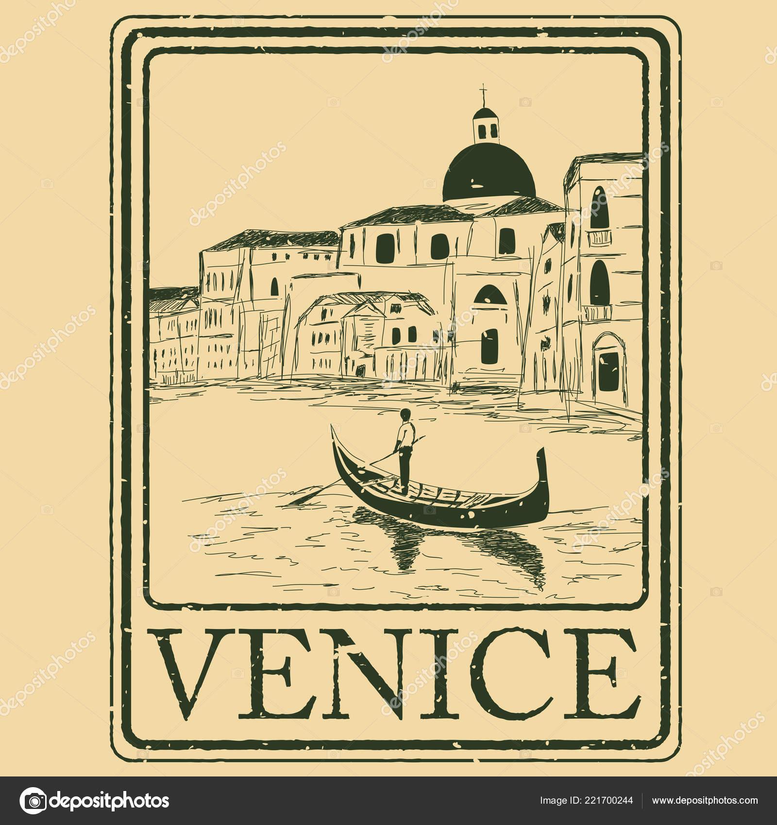 35da29ac1 Estampilla Aislado Venecia Italia Arquitectura Venecia Con Ilustración  Vector Góndola — Archivo Imágenes Vectoriales
