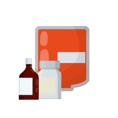 Medical preparation. Element hospitals, clinics. Transfusion. Blood packaging. Cartoon flat illustration. Treatment of patient with blood. Red liquid in bag with tube. Set of pill package icon
