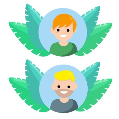 Avatar in social network. Young man in circle. Trend blue and green tropical leaves. Happy character. Cartoon flat illustration icon