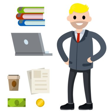 Male employee in shirt and tie. Office man and set of objects. Cute character. Joyful guy. Cartoon flat illustration. Books, laptop, coffee, document file, cash and coin money icon