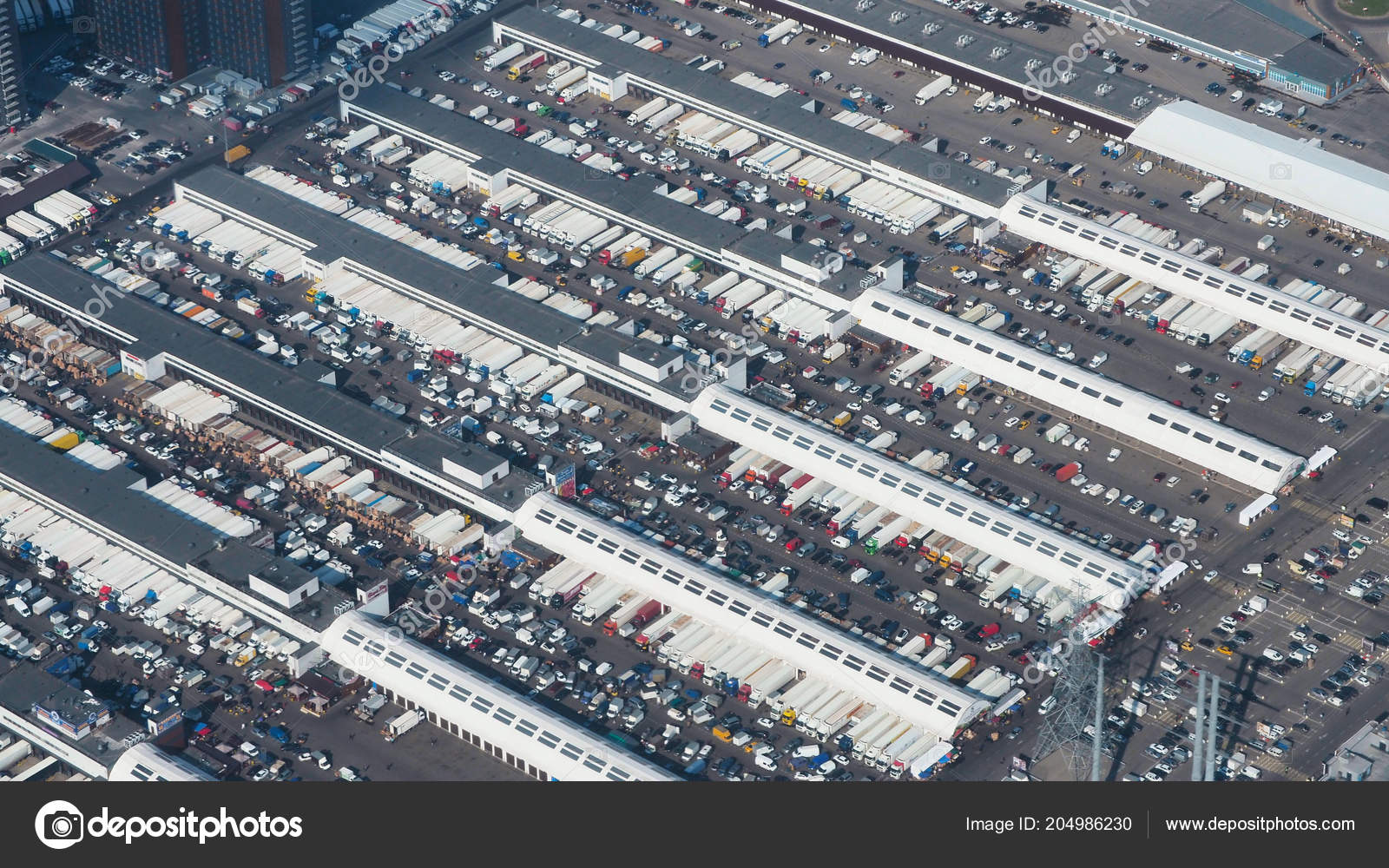 Huge Logistics Warehouse Trucks Concept Business Aerial View