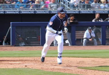 Hunter Renfroe right fielder for the San Diego Padres at Peoria Sports Complex in Peoria,AZ/USA Feb. 24,2019.