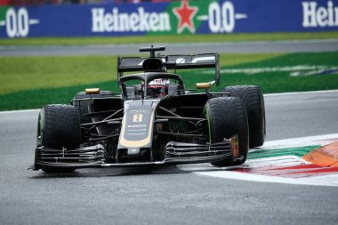 Monza, Italy. 6-8 September 2019. Formula 1 Grand Prix of Italy. Romain Grosjean of Rich Energy Haas F1 Team on the track during practice for the F1 Grand Prix of Italy