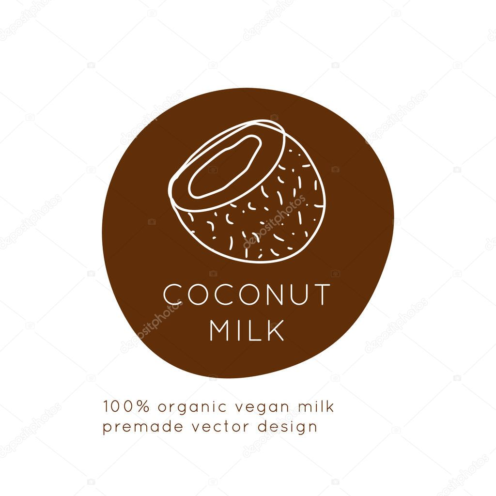 Coconut Vegan Milk Packaging Vector Logo Design Template With Plant Icon In Linear Style Abstract Emblem For Organic Shop Healthy Food Store Or Vegetarian Cafe Premium Vector In Adobe Illustrator Ai