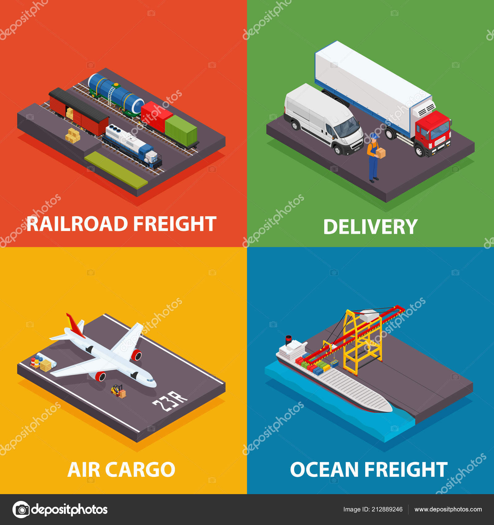 Cargo transportation including ocean and railroad freight
