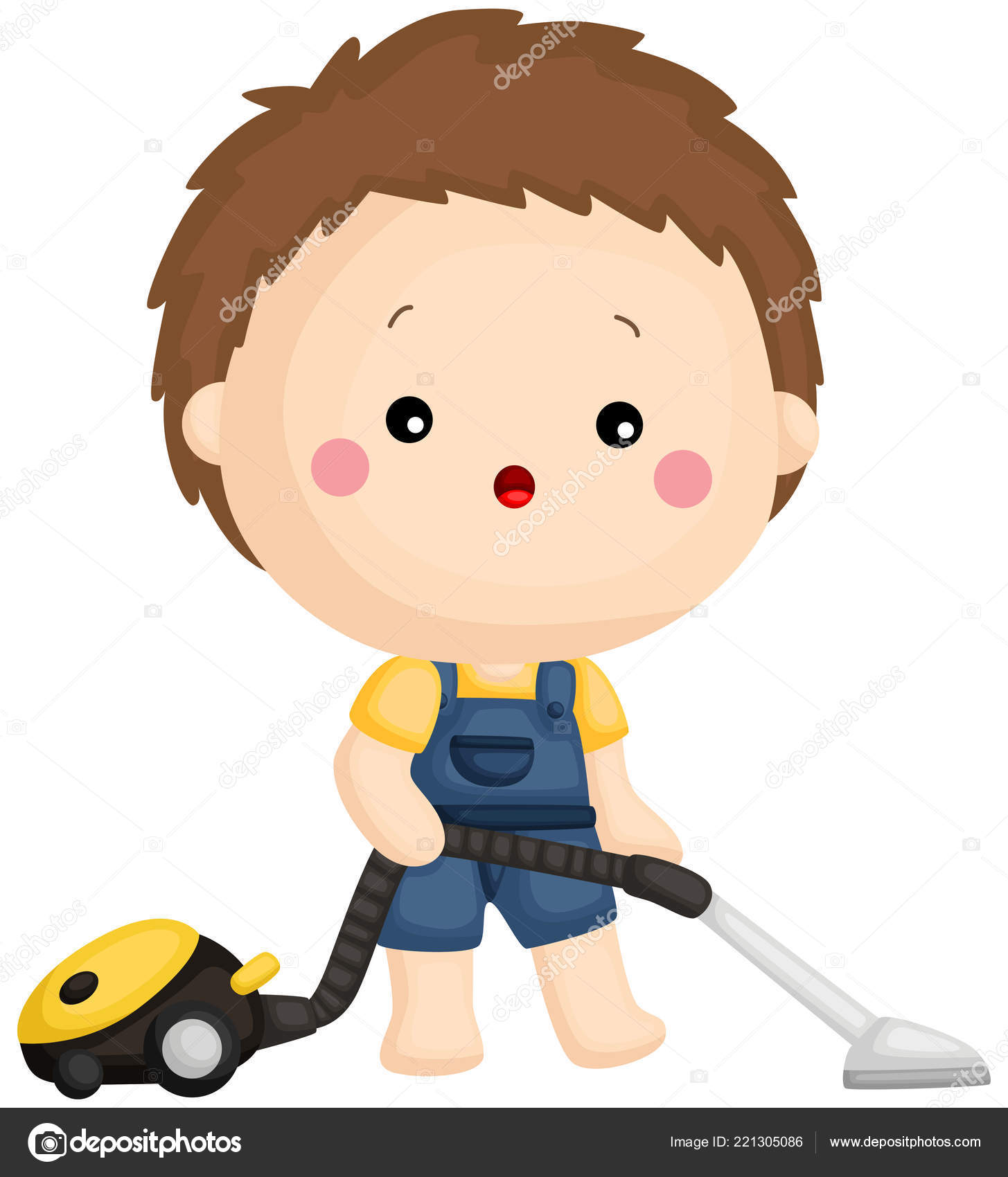 Boy Vacuum Cleaner Cleaning Room Stock Vector Comodo777 221305086