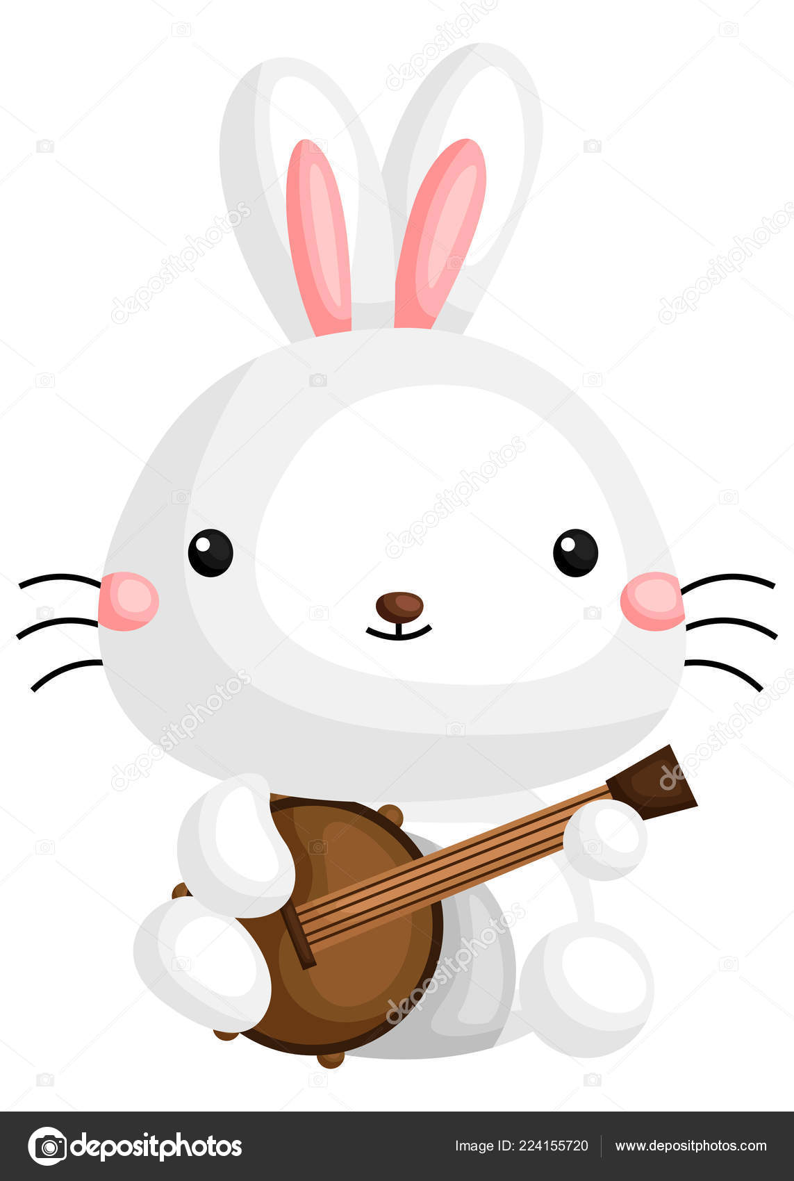 Vector Cute Rabbit Holding Guitar Stock Vector C Comodo777 224155720