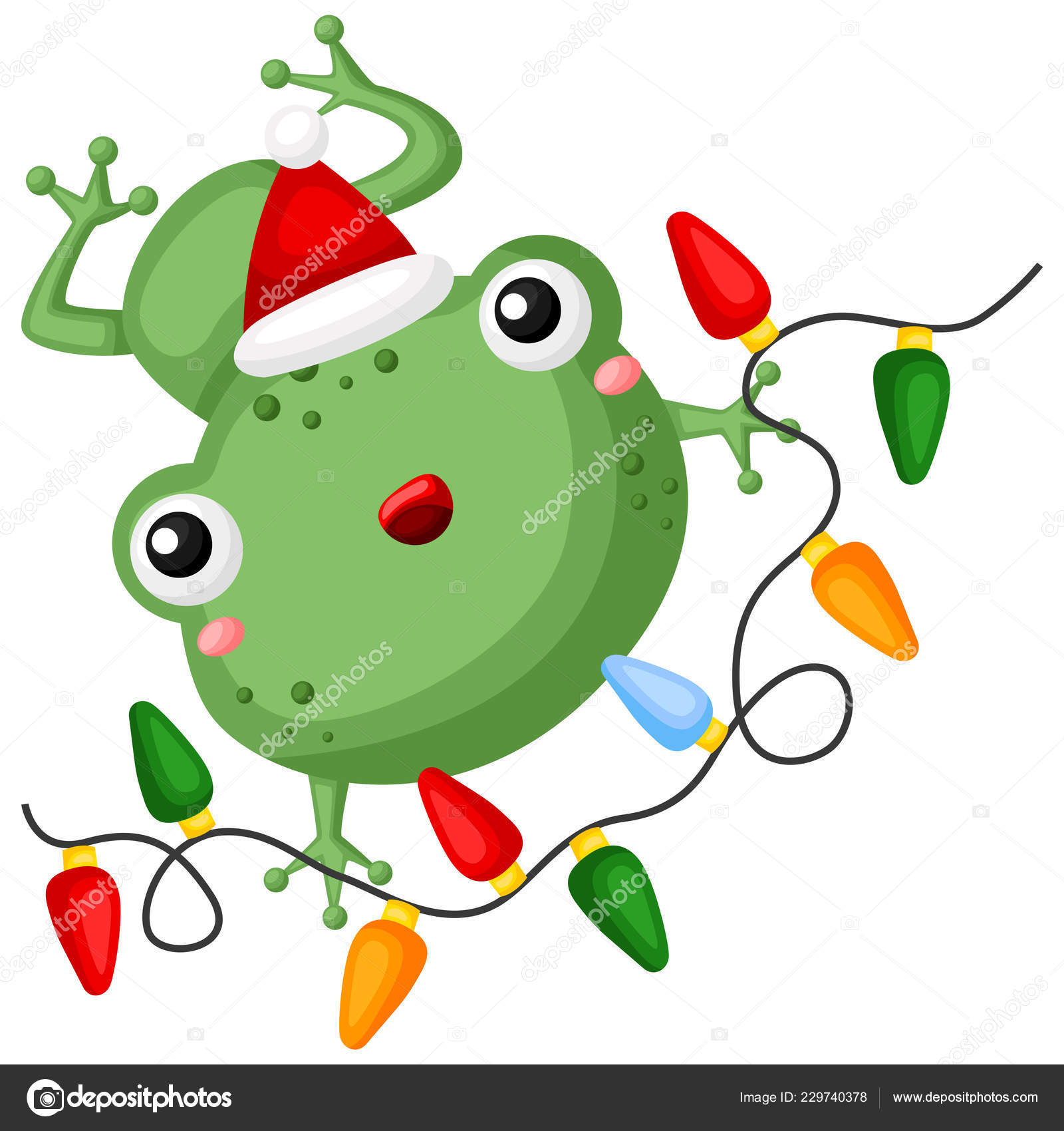Vector Cute Little Frog Holding Colorful Christmas Lights