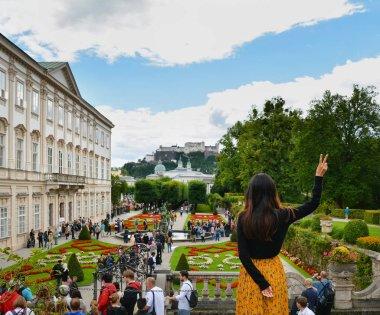 SALZBURG, AUSTRIA - JULY 25, 2017. View of the famous Mirabell Garden in Salzburg, Austria.