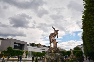Dramatic view of the famous Mirabell Garden in Salzburg, Austria