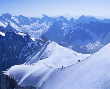 Calm morning view on the Aiguille du Midi - 3,842 m, mountain in the Mont Blanc massif, French Alps. stock vector