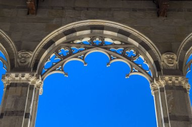 PISA, ITALY - JUNE 25, 2015. Pisa, Piazza dei Miracoli - inner courtyard of the monumental cemetery.