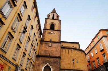 NAPLES,ITALY - NOVEMBER 12, 2015. Autumn day in Quartiere San Giuseppe, Naples ,with old church of San Pietro a Majella