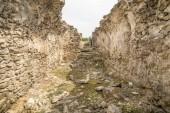 Ancient Ruins of Ulpia Traiana Augusta Dacica Sarmizegetusa in Romania. Ruins of Roman Forum.