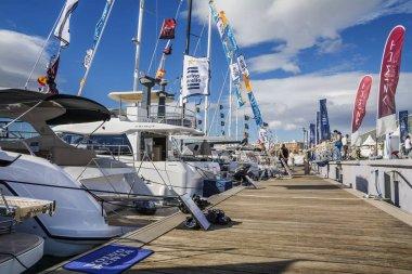 VALENCIA, SPAIN - NOVEMBER 5, 2016. The Valencia Boat Show at Marina Real Juan Carlos I, old port on the Mediterranean sea coast.