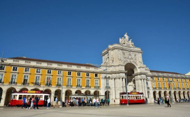 LISBON, PORTUGAL - OCTOBER 30, 2017. Praca do Comercio - Commercial Square , historical landmark known as Terreiro do Paco with Arco da Rua Augusta and Hills Tramcar Tour in Lisbon, Portugal.