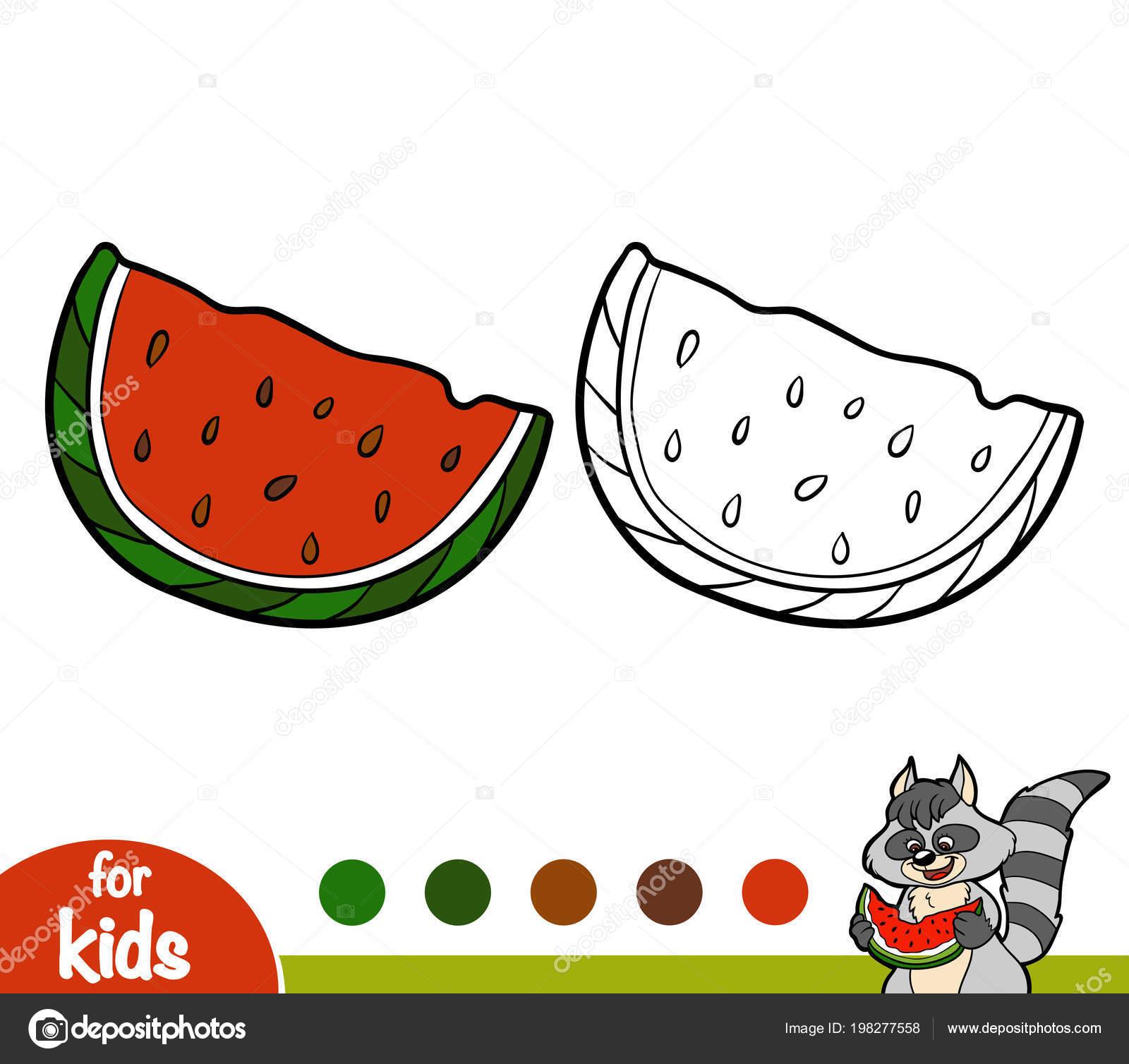 Libro Colorare Bambini Anguria Vettoriali Stock Ksenya Savva