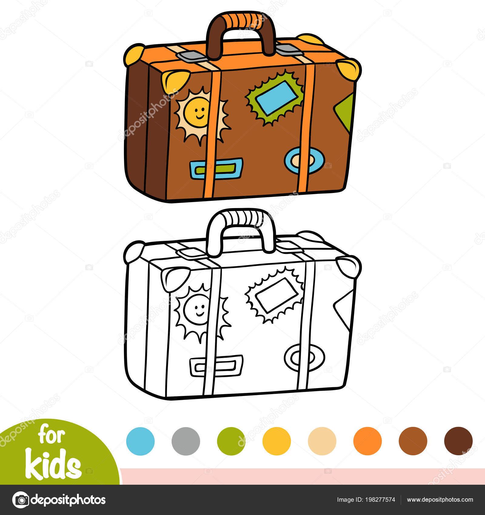 livro colorir para crianças mala com adesivos vetores de stock