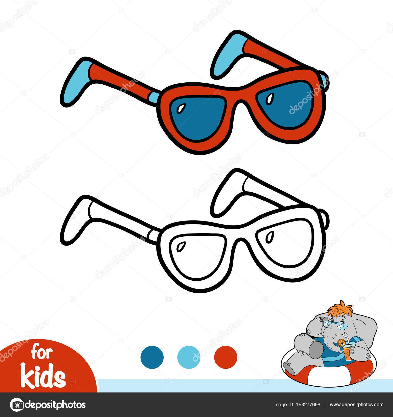 Libro Colorare Bambini Occhiali Sole Vettoriali Stock