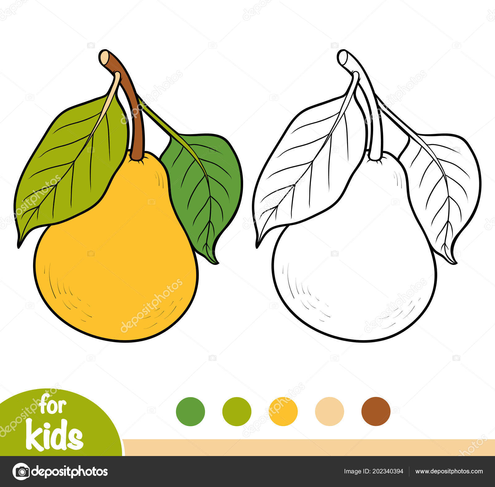 Coloring Book Children Pear Tree Branch Stock Vector