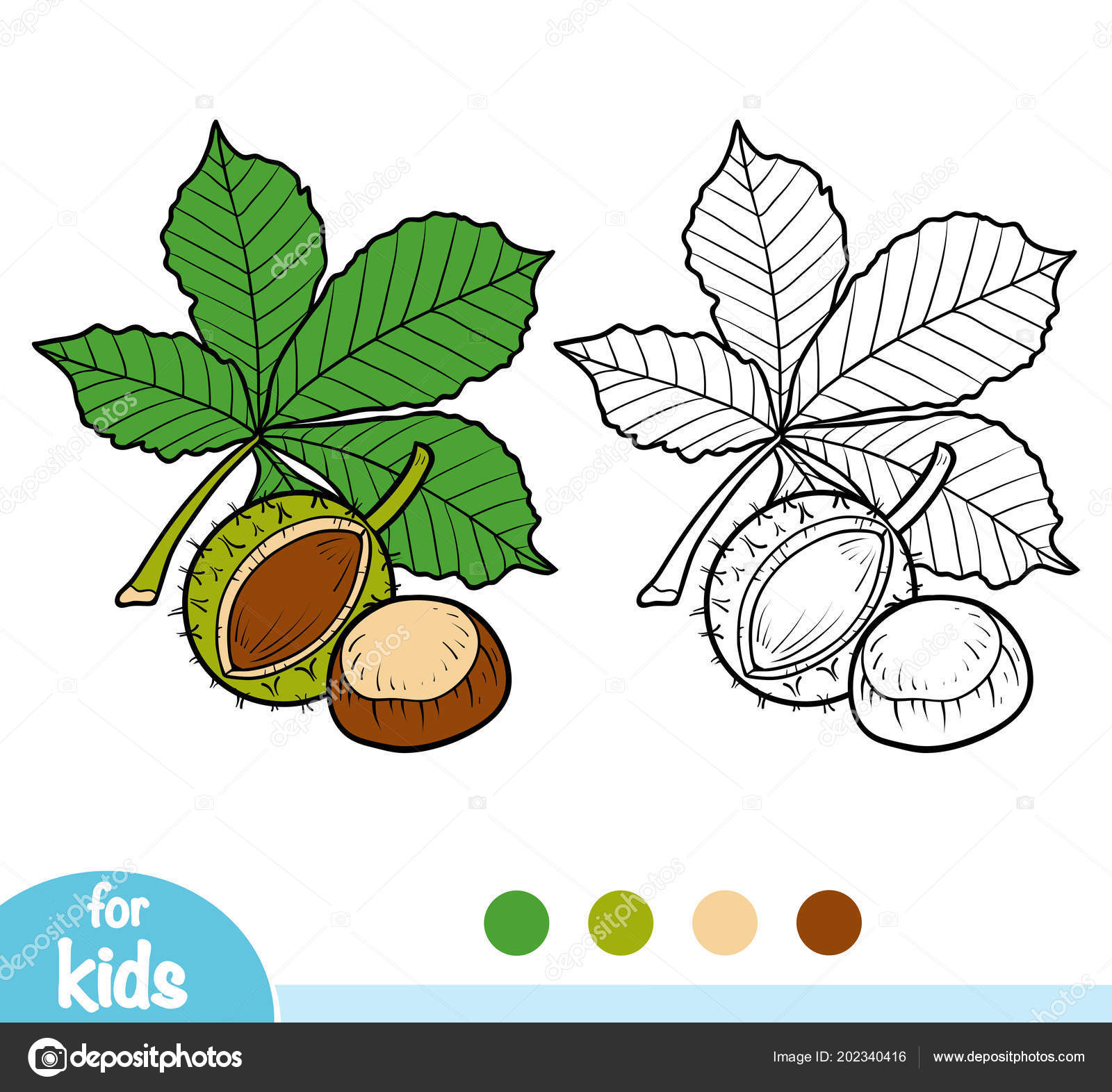 Coloring Book Children Horse Chestnut Branch — Stock Vector ...