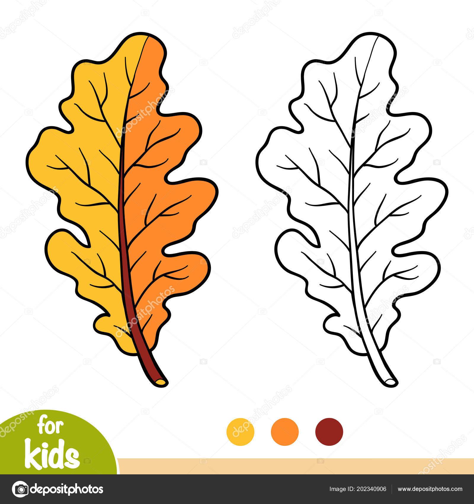 Meşe Yaprağı çocuklar Için Boyama Kitabı Stok Vektör